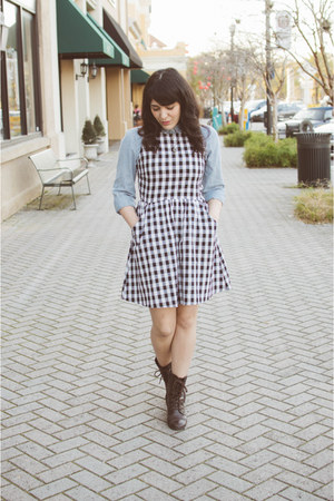 denim shirt Old Navy shirt - gingham dress Ruche dress