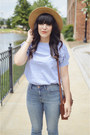 High-rise-jeans-madewell-jeans-hat-forever-21-hat-brown-satchel-h-m-purse