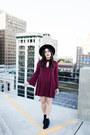 Urban-outfitters-boots-burgundy-dress-momni-dress-matador-hat-asos-hat