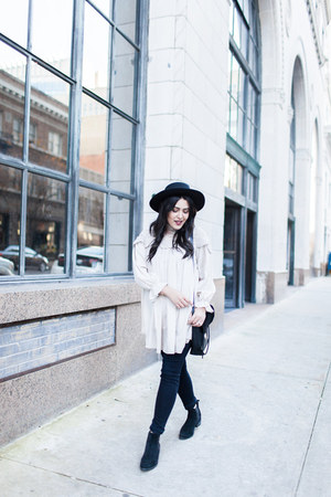 asos hat - Urban Outfitters boots - dolly dress Chicwish dress
