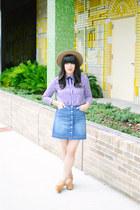 fedora hat Forever 21 hat - denim skirt H&M skirt