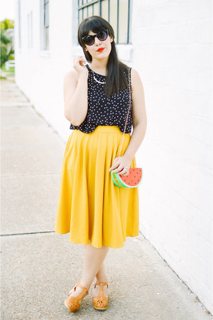 modcloth skirt - PepaLoves purse - lacy sandals swedish hasbeen clogs