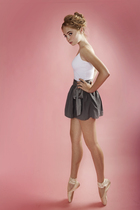002. BCBG Skirt and white leotard