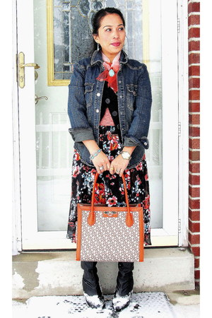 black Avon boots - navy denim jacket - orange DKNY purse - black kohls cardigan
