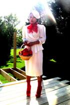 white white vintage dress - red flea market scarf - red socks