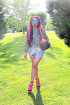 black top - black Guess purse - bubble gum Jessica Simpson heels
