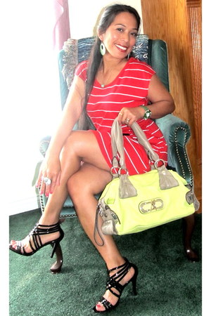red Self Esteem dress - chartreuse Guessby Marciano purse - white watch