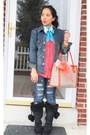 Carrot-orange-dkny-purse-black-payless-boots-navy-forever21-jeans