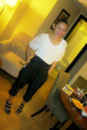 off white crochet Thrift Store blouse - black high-waisted thrifted vintage romp