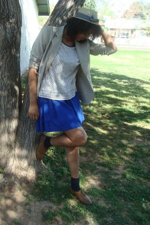 brown Aldo shoes - blue Thalian blazer - eggshell thrifted top - dark gray Sewn