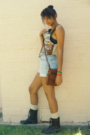 dark brown Charlotte Russe boots - brown flea market bag - sky blue thrifted sho