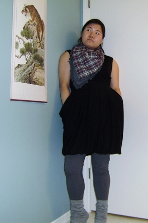 scarf - exileration dress - leggings - if carrini shoes