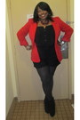 Black-suede-booties-rachel-roy-boots-red-thrifted-blazer