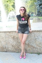 Charlotte Russe shoes - H&M shorts - Moschino t-shirt - asos ring