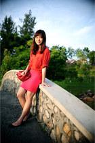 red vintage shirt - red no brand bag - bright pink twonine skirt