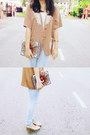 Tan-statement-cute-granny-vintage-jacket-light-blue-faded-ff-jeans