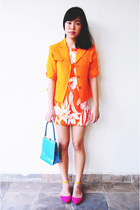 orange floral orange Cute Granny Vintage dress
