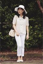 white Shana hat - white Dees Simplicity pants - white polkadots vintage blouse