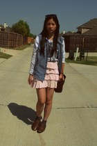 brown woven thrifted bag - light pink ruffle Express skirt - blue military denim