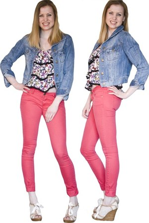blue denim HERITAGE 81 jacket - red colored denim Mossimo pants - Forever 21 top