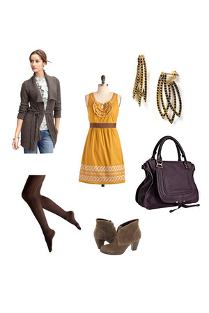 banana republic cardigan - modcloth dress - House of Harlow 1960 earrings - Chlo