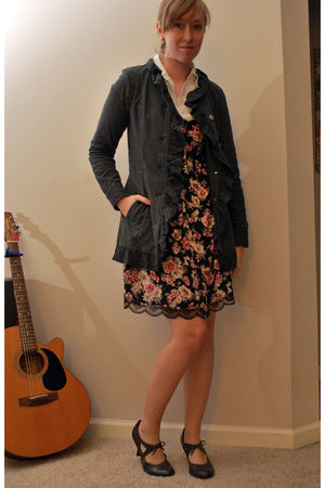 gray jacket - white banana republic shirt - gray merona shoes - black dress