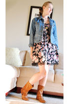 blue Aeropostale jacket - black xhilaration dress - brown Nine West boots - gold