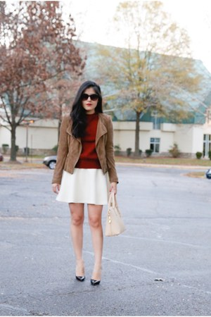 Zara jacket - J Crew sweater - Zara bag - banana republic skirt