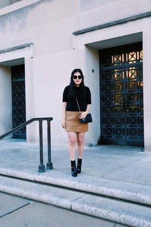 brown banana republic skirt - Zara boots - black Zara top