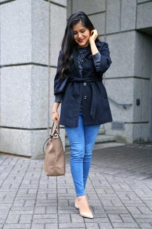 Zara jeans - Gap coat - Zara bag - Zara necklace - Gap top - Zara heels