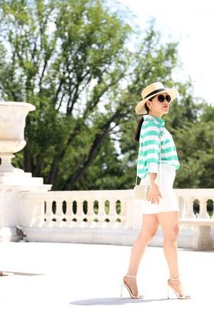 H&M hat - ann taylor shirt - Zara bag - Zara heels - Zara skirt