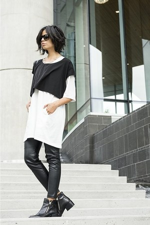 leather H&M pants - zipper Zara boots - white ghost cyeoms dress