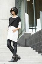 leather H&M pants - zipper Zara boots - white ghost cyeoms dress