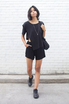 black fawn linen ss15 cyeoms shorts - black cyeoms top