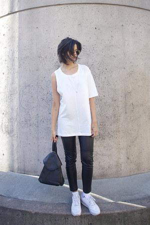 black leather H&M pants - white swoosh nike socks