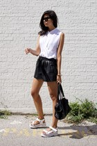 white sleeveless top cyeoms top - black leather shorts Zara shorts