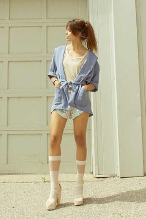 sky blue cyeoms jacket - aquamarine tap shorts cyeoms shorts - neutral American