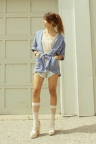 sky blue cyeoms jacket - aquamarine tap shorts cyeoms shorts - neutral American