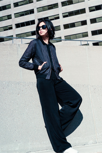 black bomber wilfred jacket - black tencel Acne Studios t-shirt