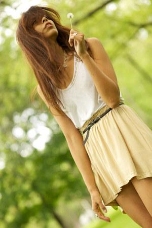 chartreuse Nine West bag - white American Apparel bodysuit - tan full skirt cyeo
