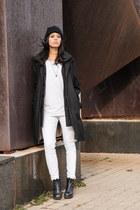 white zipper jeans American Apparel jeans - black libby platform vagabond boots