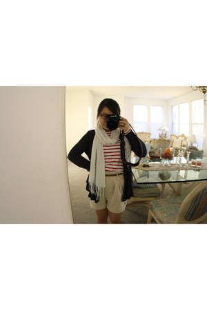 G-Stage shorts - stripes H&M shirt - scarf - H&M cardigan