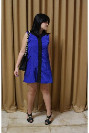 blue CFK dress - black Miss Sixty shoes - black Chanel