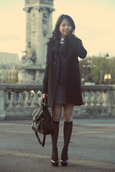 black Tara Jarmon coat - navy H&M sweater - black ps 1 maxi PROENZA SCHOULER bag
