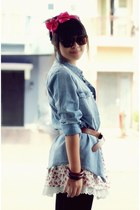 sky blue Gaudi jacket - dark brown unbranded belt - hot pink unbranded skirt - c