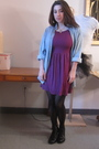 Purple-h-m-dress-blue-vintage-top-black-tights-black-born-shoes
