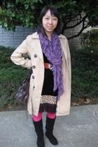 H&M coat - dress - American Apparel tights - H&M boots - scarf - vintage belt
