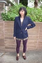 vintage from Goodwill blazer - forever 21 blouse - Express leggings - vintage fr