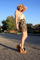 handmade top - Forever 21 skirt - vintage wedges