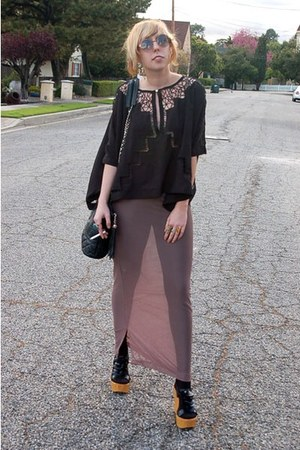 black Chanel bag - black ruffle wedges wedges - camel my design mesh maxi skirt